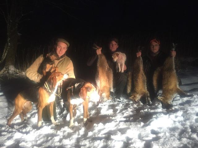 Nöjda jägare och hundar med dagens resultat. Jag tror bestämt jaktvärden Carl-Fredrik, som står bakom kameran, var belåten han också...